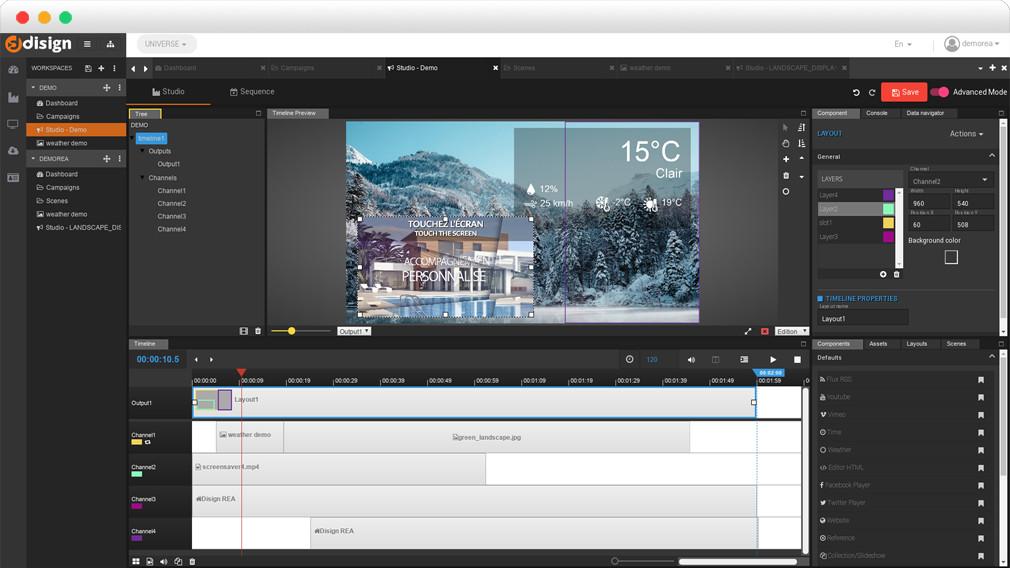 Image Capture écran DISIGN Solution digital signage de gestion d'affichages dynamiques
