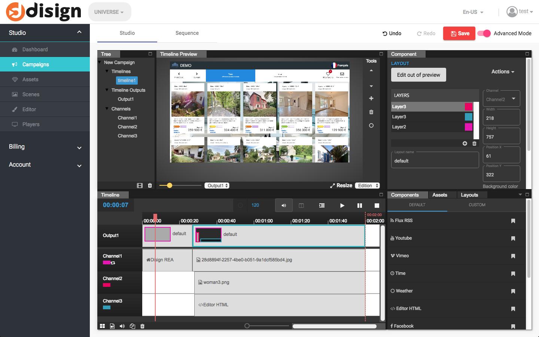 Image description écran vitrine haute luminosité double faces SAMSUNG OM55N-D pour solution digital signage d'affichage dynamique DISIGN TV Cloud