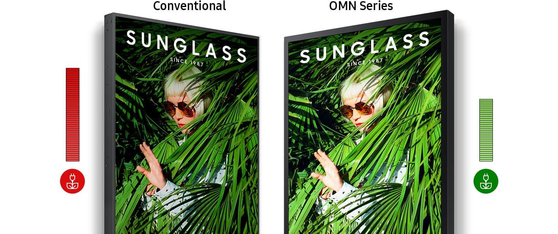 Image description écran vitrine haute luminosité double faces  SAMSUNG OM55N-D